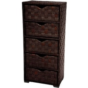 Oriental Furniture Natural Fiber Chest of 5 Drawer; Mocha