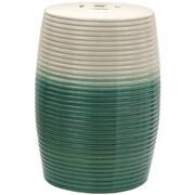 Oriental Furniture Ribbed Porcelain Garden Stool; Beige / Green