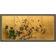 Oriental Furniture Butterflies and Bamboo on Leaf Framed Original Painting