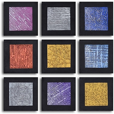 My Art Outlet 'Tic-Tac-Toe Tin Tiles' 9 Piece Framed Original Painting on Wrapped Canvas Set