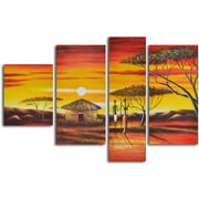 My Art Outlet 'African Homestead Sunset' 4 Piece Original Painting on Canvas Set