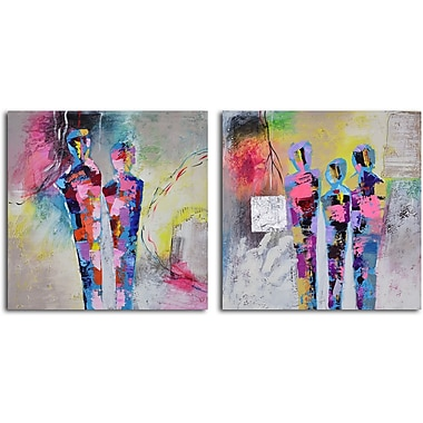 My Art Outlet 'Kaleidoscope Figurines' 2 Piece Original Painting on Wrapped Canvas Set