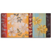 My Art Outlet Silver to Gold Flowers Original Painting on Wrapped Canvas