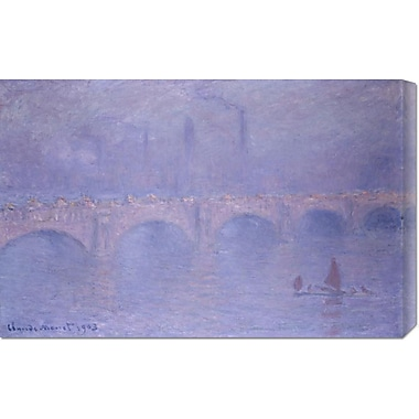 Global Gallery 'Waterloo Bridge, Misty Sunshine' by Claude Monet Painting Print on Wrapped Canvas