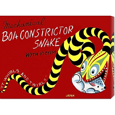 Global Gallery 'Boa Constrictor Snake w/ Victim' by Retrobot Vintage Advertisement on Wrapped Canvas