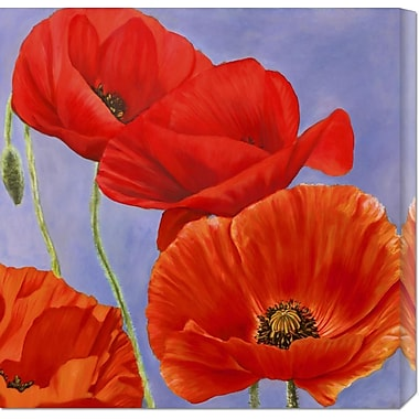 Global Gallery 'Dance of Poppies I' by Luca Villa Painting Print on Wrapped Canvas