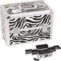Sunrise Cases Professional Cosmetic Makeup Case; White Zebra