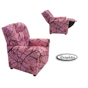 Dozy Dotes Four Button Kid's Recliner; Camouflage Pink with True Timber Fabric