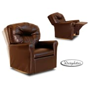 Dozy Dotes Contemporary Rocker Kid's Recliner; Faux Leather - Pecan Brown