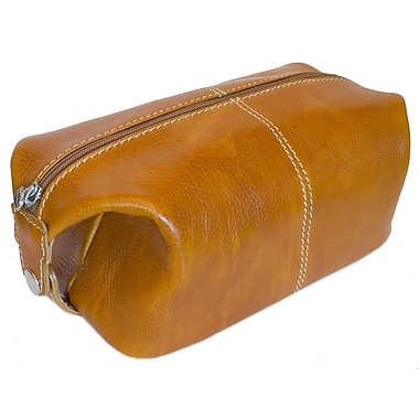 Floto Imports Venezia Leather Toiletry Bag; Olive Brown