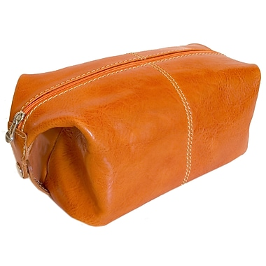 Floto Imports Venezia Leather Toiletry Bag; Orange