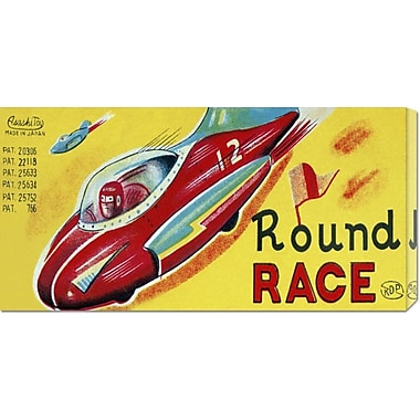 Global Gallery 'Round Race Rocket Car' by Retrotrans Vintage Advertisement on Wrapped Canvas
