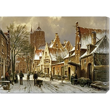 Global Gallery 'A Winter Street Scene' by Willem Koekkoek Painting Print on Wrapped Canvas