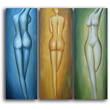 White Walls Female Figures 3 Piece Framed Painting Print on Wrapped Canvas Set