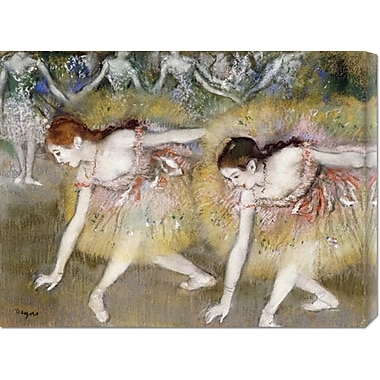 Global Gallery 'Dancers Bending Down' by Edgar Degas Painting Print on Wrapped Canvas