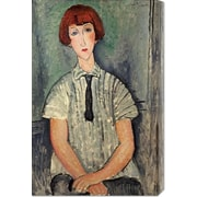 Global Gallery 'Young Girl in a Striped Shirt' by Amedeo Modigliani Painting Print on Canvas