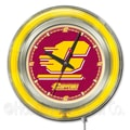 Holland Bar Stool NCAA 15'' Double Neon Ring Logo Wall Clock; Central Michigan