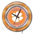 Holland Bar Stool NCAA 15'' Double Neon Ring Logo Wall Clock; Clemson