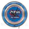Holland Bar Stool NCAA 15'' Double Neon Ring Logo Wall Clock; DePaul