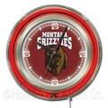 Holland Bar Stool NCAA 15'' Double Neon Ring Logo Wall Clock; Montana