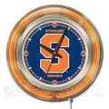 Holland Bar Stool NCAA 15'' Double Neon Ring Logo Wall Clock; Syracuse
