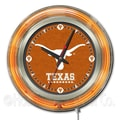 Holland Bar Stool NCAA 15'' Double Neon Ring Logo Wall Clock; Texas
