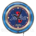Holland Bar Stool NCAA 15'' Double Neon Ring Logo Wall Clock; Tulsa