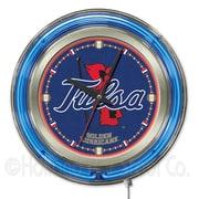 Holland Bar Stool NCAA 15'' Double Neon Ring Logo Wall Clock; Tulsa