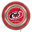 Holland Bar Stool NHL 15'' Double Neon Ring Logo Wall Clock; Carolina Hurricanes
