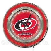 Holland Bar Stool NHL 15'' Double Neon Ring Logo Wall Clock; Carolina Hurricanes