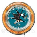 Holland Bar Stool NHL 15'' Double Neon Ring Logo Wall Clock; San Jose Sharks