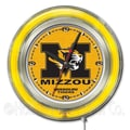 Holland Bar Stool NCAA 15'' Double Neon Ring Logo Wall Clock; Missouri