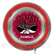Holland Bar Stool NCAA 15'' Double Neon Ring Logo Wall Clock; UNLV