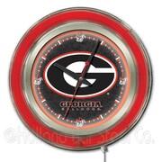 Holland Bar Stool NCAA 15'' Double Neon Ring Logo Wall Clock; Georgia ''G''