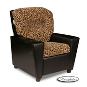 Dozy Dotes Cup Holder Kid's Recliner; Microsuede/Faux Leather - Cheetah/Black