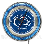 Holland Bar Stool NCAA 15'' Double Neon Ring Logo Wall Clock; Penn State