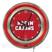 Holland Bar Stool NCAA 15'' Double Neon Ring Logo Wall Clock; Louisiana At Lafayette