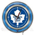 Holland Bar Stool NHL 15'' Double Neon Ring Logo Wall Clock; Toronto Maple Leafs