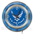 Holland Bar Stool US Armed Forces 15'' Double Neon Ring Logo Wall Clock; Air Force