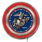 Holland Bar Stool US Armed Forces 15'' Double Neon Ring Logo Wall Clock; Marines