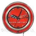 Holland Bar Stool Corvette - C6 15'' Double Neon Ring Logo Wall Clock; Red / Black