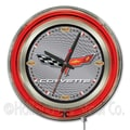 Holland Bar Stool Corvette - C6 15'' Double Neon Ring Logo Wall Clock; Silver / Black