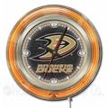 Holland Bar Stool NHL 15'' Double Neon Ring Logo Wall Clock; Anaheim Ducks