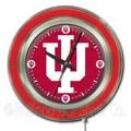 Holland Bar Stool NCAA 15'' Double Neon Ring Logo Wall Clock; Indiana