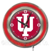 Holland Bar Stool NCAA 15'' Double Neon Ring Logo Wall Clock; Indiana