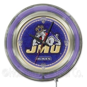 Holland Bar Stool NCAA 15'' Double Neon Ring Logo Wall Clock; James Madison