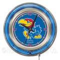 Holland Bar Stool NCAA 15'' Double Neon Ring Logo Wall Clock; Kansas
