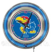 Holland Bar Stool NCAA 15'' Double Neon Ring Logo Wall Clock; Kansas