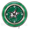Holland Bar Stool NHL 15'' Double Neon Ring Logo Wall Clock; Dallas Stars
