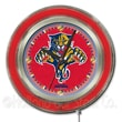 Holland Bar Stool NHL 15'' Double Neon Ring Logo Wall Clock; Florida Panthers